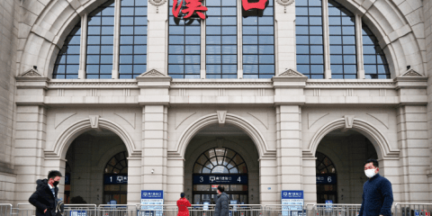 Hankou Railway Station is closed after the city was locked down following the outbreak of the new coronavirus in Wuhan, China. Photo: CNS/China Daily via Reutersa