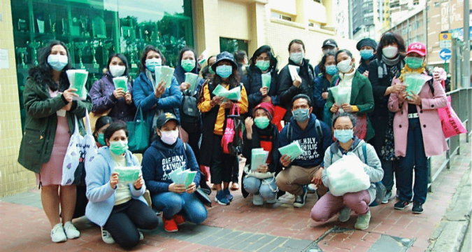 The Indonesian Catholic Community preparing to give out masks in Causeway Bay on February 16.