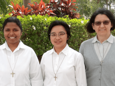 Left to right: Sister Sophia Rani Dhason, counselor; Sister Carmela Pamei,, superior delegate; and Sister Lorena Brambilla, counsellor