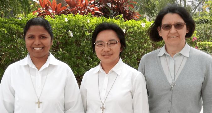 Left to right: Sister Sophia Rani Dhason, counselor; Sister Carmela Pamei,, superior delegate; and Sister Lorena Brambilla, counsellor
