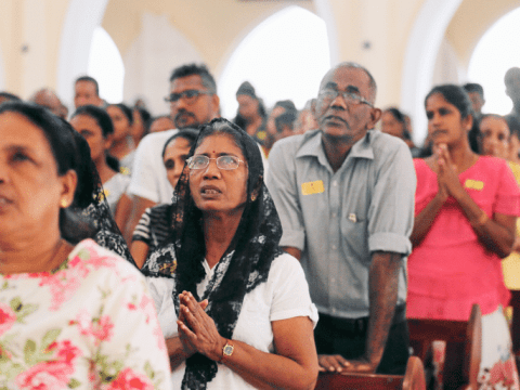 Mass at St. Theresa's Church in Colombo, Sri Lanka, May 2019. the Church in Sri Lank has suspended Masses as part of the effor to combat the spread of Covid-19. Photo: CNS/Reuters