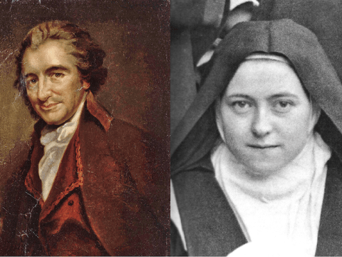 Left: a painting of Thomas Paine by Auguste Millière. The National Portrait Gallery Photo: Public domain/Wikimedia; right St. Therèse of Lisieux. Photo: Public domain/CC0