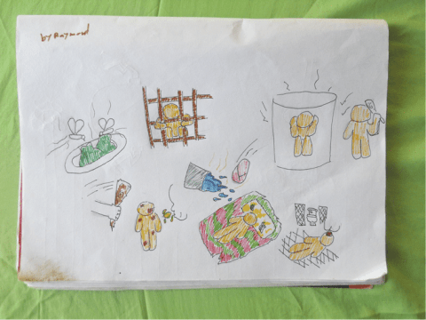 A drawing by a young boy depicting abuse at a youth detention centre. Photo: Preda