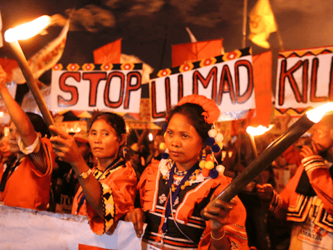 A group of Lumad indigenous people from Mindanao march in Manila in 2016. File photo UCAN/Joe Torres