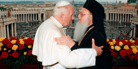 Pope John Paul II and Ecumenical Patriarch Bartholomew of Constantinople embrace on the balcony of St. Peter's Basilica following three days of private meetings in 1995. File photo: CNS/L'Osservatore Romano