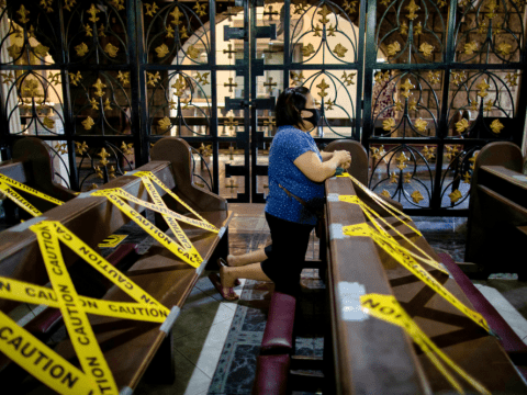 Praying while wear a face mask in a church in Manila on July 7. Photo: CNS/Reuters