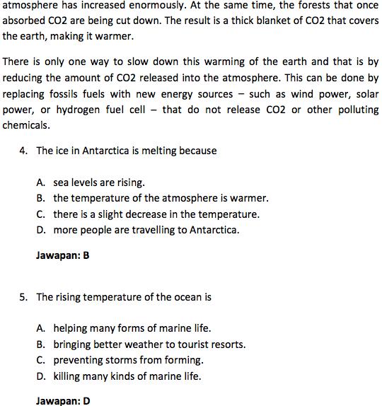 Contoh Soalan Pemahaman Bahasa Inggeris