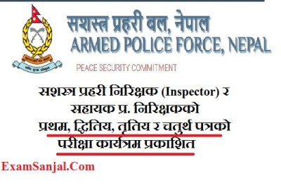 APF Armed Police Force Exam Center Published For Inspector and A.S.I (Exam Center Sashastra Prahari)