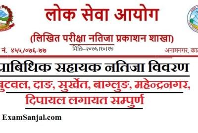 Pra Sa Result Published By Lok Sewa Office ( Prabidhik Sahayak- Shiksha Sewa Result)