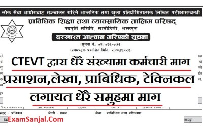 CTEVT Vacancy Notice 2076 ( Vacancy Notice By CTEVT in Administration, Account & Technical )