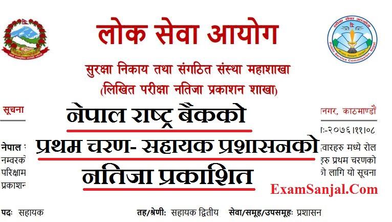Written Result of Nepal Rastra Bank Asst. 4th Level ( Nepal Rastra Bank Result Sahayak fourth )