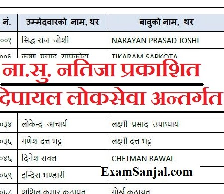 Na Su Result of Dipayal Published by Lok Sewa