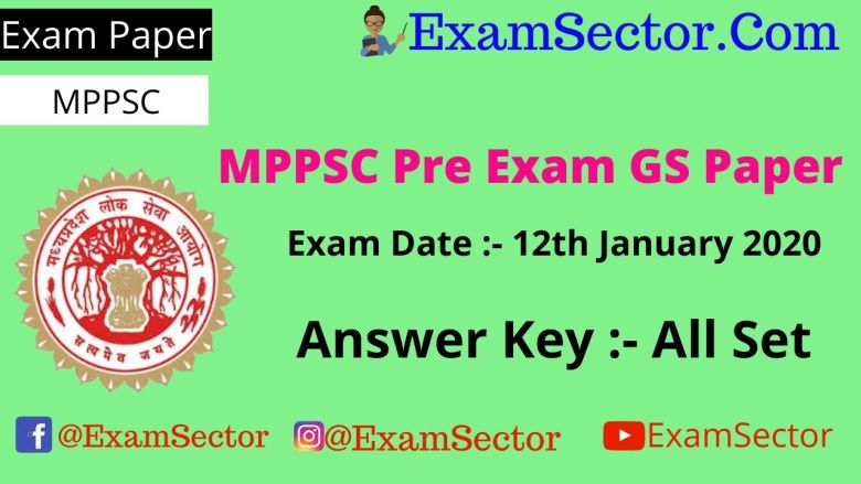 MPPSC Pre Exam Paper 12th January 2020 Answer Key PDF