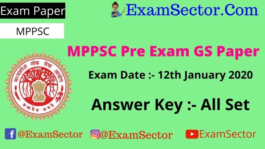 MPPSC Pre Exam Paper 12th January 2020 Answer Key PDF