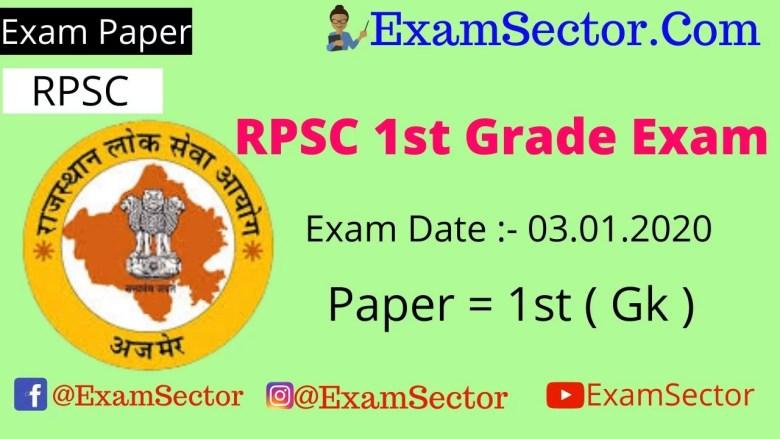 RPSC 1st Grade Exam 3 January 2020 Answer Key