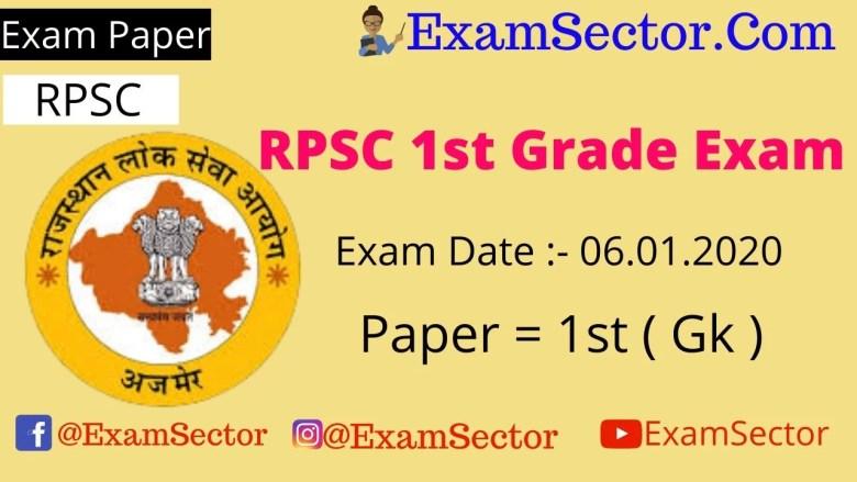 RPSC 1st Grade Exam 6 January 2020