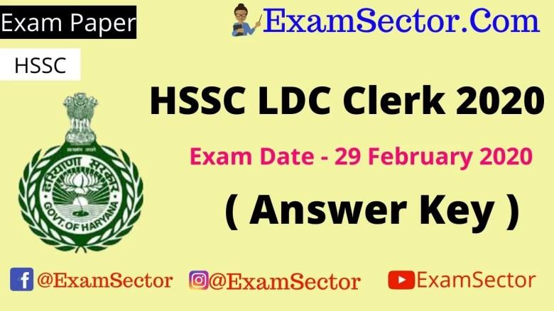 HSSC LDC Clerk 2020 Answer Key ,