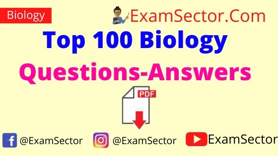 Top 100 Biology Questions Answers PDF in Hindi