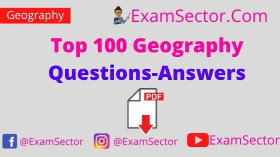 Top 100 Geography Questions-Answers PDF in Hindi