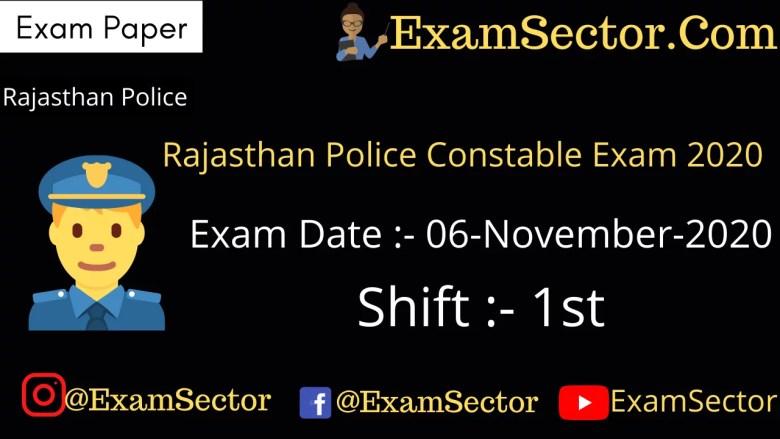 Rajasthan Police Constable Exam Paper – 06 Nov 2020