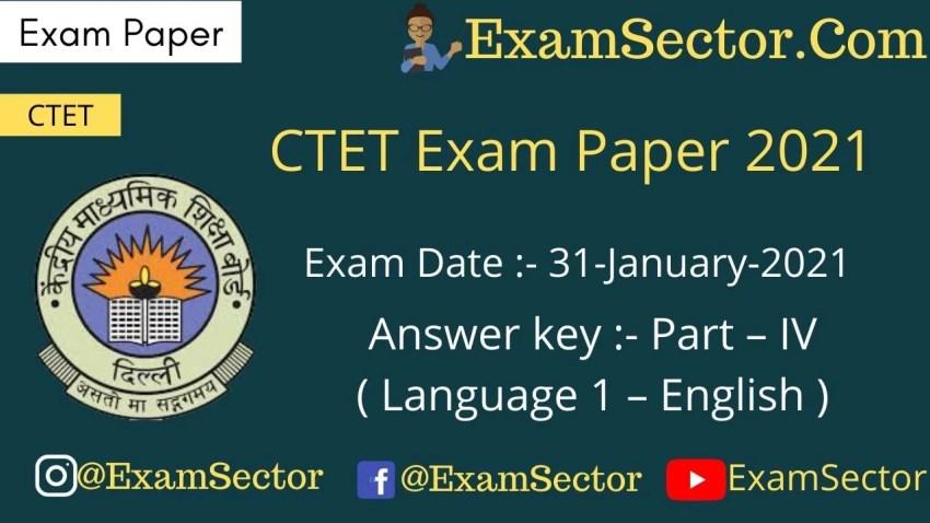 CTET 31 Jan 2021 Paper I Language 1st (English) Answer Key
