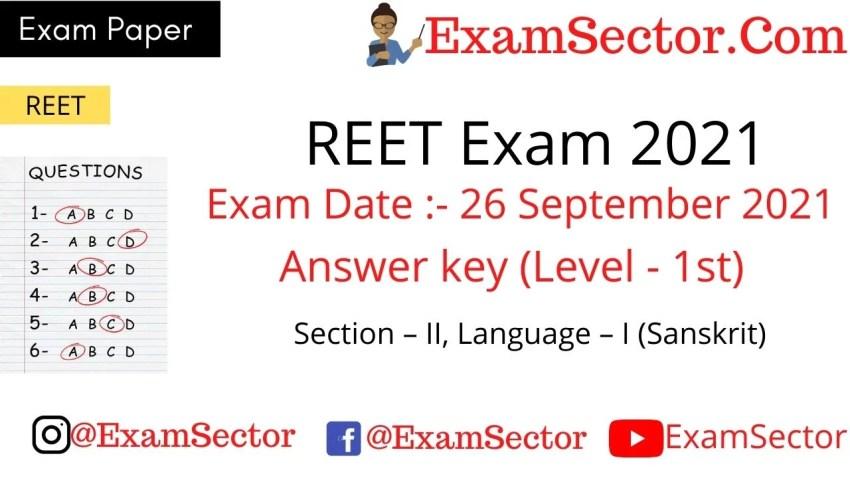 REET Level 1 Exam Paper 26 Sep 2021 solutions