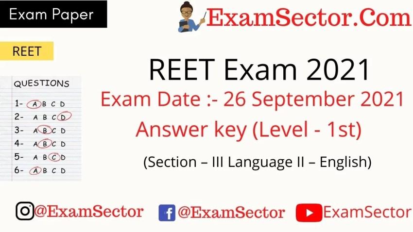 REET Level 1 Exam Paper 26 Sep 2021 Answer key