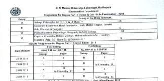 BNMU Part 1 Exam Date and Program Schedule Download Pdf