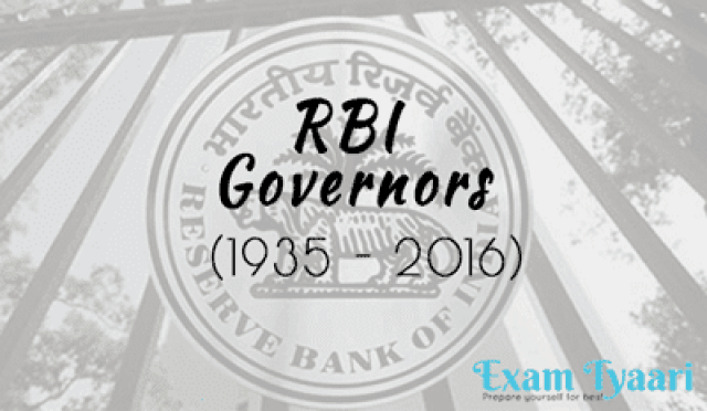 List of All RBI Governors (1953 - 2016) [PDF Download] - Exam Tyaari