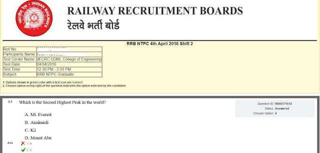 RRB NTPC 2016: Answer Key Link Activated- Check Now- Exam Tyaari