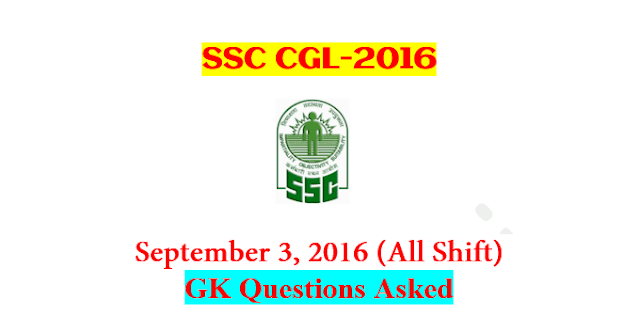 SSC CGL Tier-1 2016 : Questions Asked On 3 September - ALL Shift [PDF] - Exam Tyaari