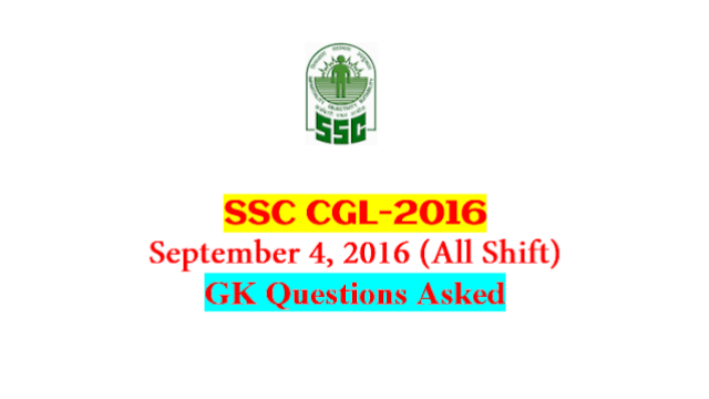 SSC CGL Tier-1 2016 : Questions Asked On 4 September - ALL Shift [PDF] - Exam Tyaari