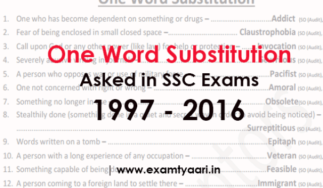 Download One Word Substitution PDF Asked in SSC Exams (1997 - 2017) - Exam Tyaari