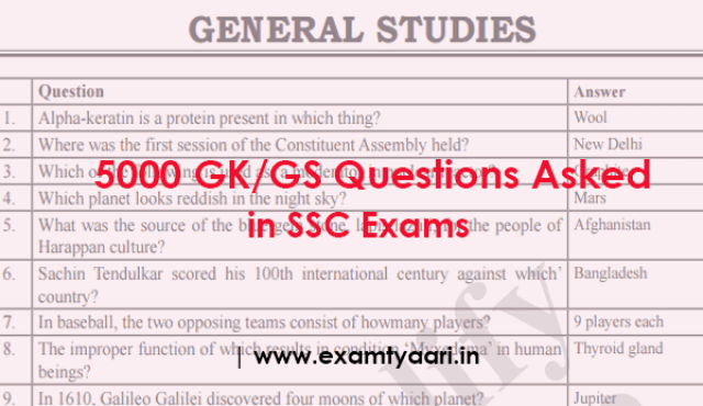 TOP Important 5000GK GS Questions Previously Asked in SSC Exam [PDF] - Exam Tyaari