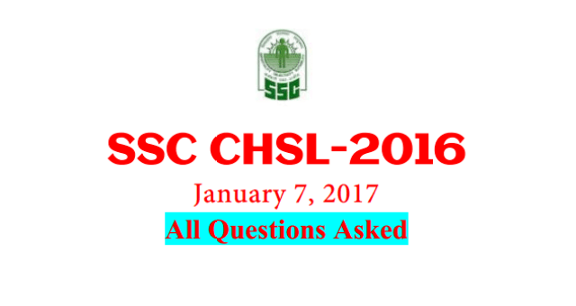 SSC CHSL 2016 (Tier-1) Questions Asked on 7th January [PDF] - Exam Tyaari
