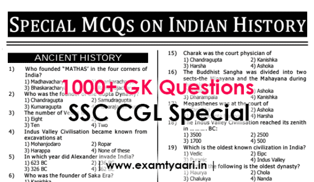 Download 1000 GK GS General Knowledge Questions for SSC CGL Exam [PDF] - Exam Tyaari
