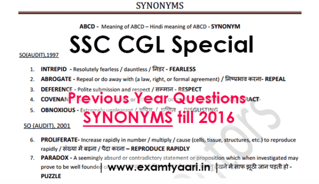 Previous Year Synonyms with HINDI Meaning Asked in SSC Exams till 2016 [Download PDF] - Exam Tyaari