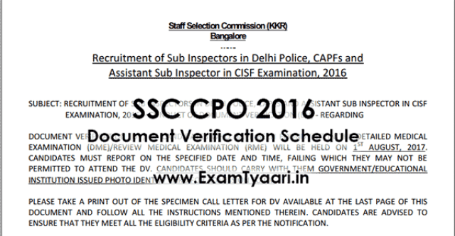 Official-Notice : SSC CPO 2016 Document Verification Schedule - Exam Tyaari