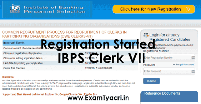 IBPS Clerk VII 2017 Registration Started - Apply Now - Exam Tyaari