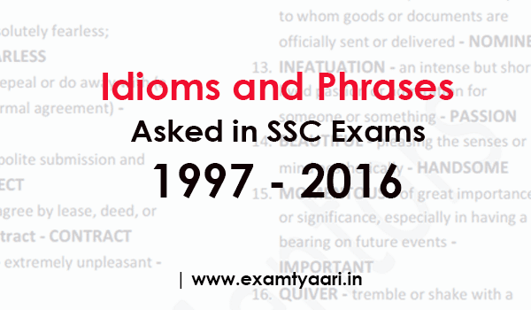 Idioms and Phrases PDF Asked in SSC Exams • Exam Tyaari