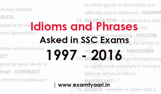 Idioms and Phrases PDF Questions Asked in SSC Exams - PDF Download - Exam Tyaari