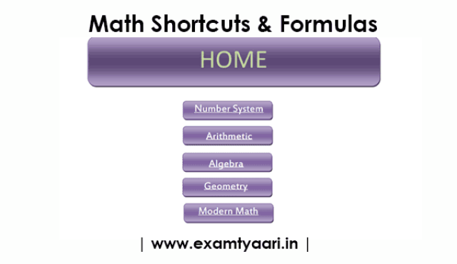 Free-Book: Math Formulas Tricks & Shortcuts for SSC CGL [PDF] - Exam Tyaari