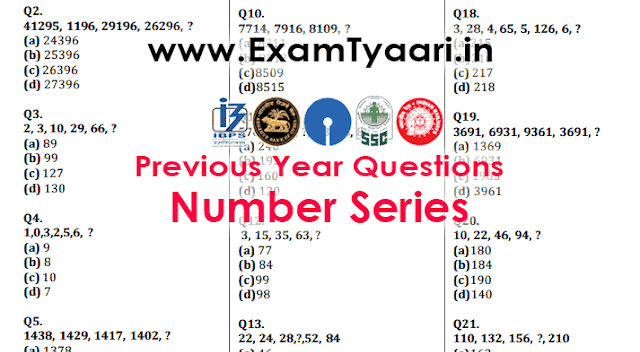 Number Series Previously Asked Previous Year SSC CGL, CPO Questions in SSC Exams [PDF] - Exam Tyaari