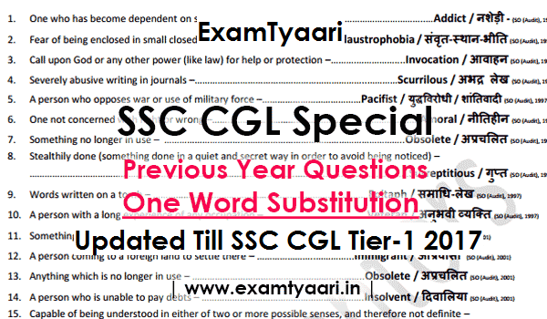 One Word Substitution Bilingual Asked in SSC Exams till 2017