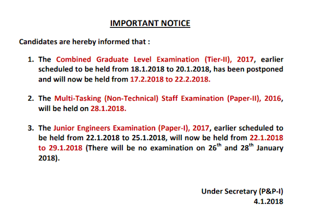 SSC CGL 2017 Official Tier-2 Date Postponed Notice [PDF] - Exam Tyaari