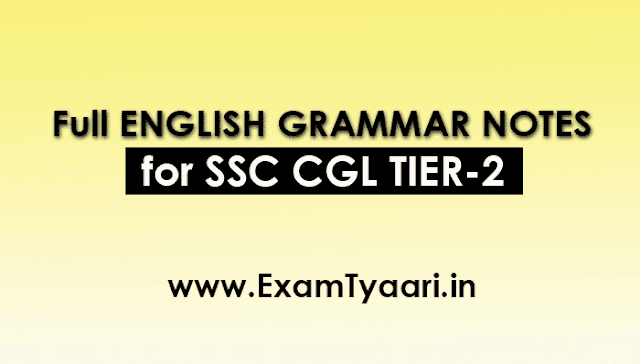 Complete SSC CGL Tier-2 ENGLISH GRAMMAR Notes Guide [ Download PDF] - Exam Tyaari