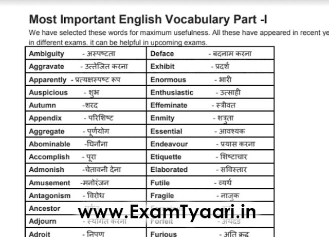 English Vocab with Hindi Meaning PDF - Exam Tyaari
