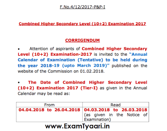 Corrective Exam Dates Notice for SSC CHSL 2017 Tier-1 - Exam Tyaari