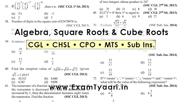 Algebra, Square and Cube Roots Questions SSC Exam [PDF] - Previous Year Questions - Exam Tyaari