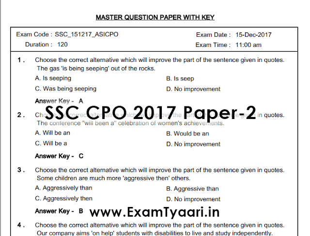 SSC CPO 2017 Paper-2 Full Question Paper with Solutions [PDF] - Exam Tyaari